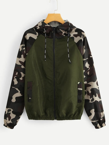 Plus Contrast Camo Sleeve Drawstring Hooded Jacket | Amy's Cart Singapore