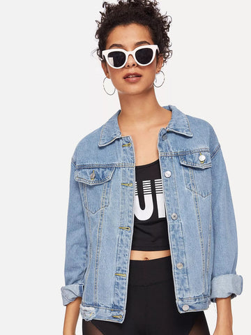 Bleach Wash Pocket Front Denim Jacket | Amy's Cart Singapore