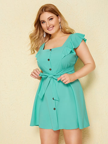 Plus Button Front Self Tie Dress | Amy's Cart Singapore