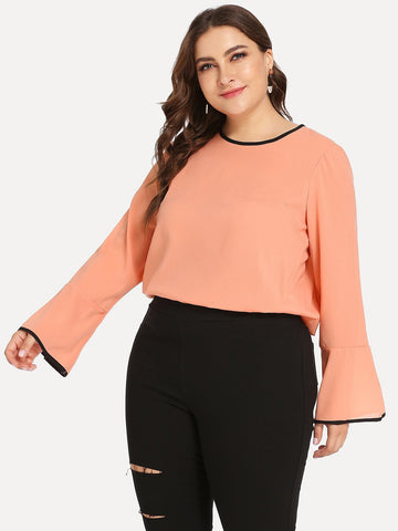 Plus Bell Sleeve Contrast Trim Blouse | Amy's Cart Singapore