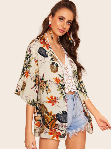 Botanical Print Short Sleeve Kimono | Amy's Cart Singapore