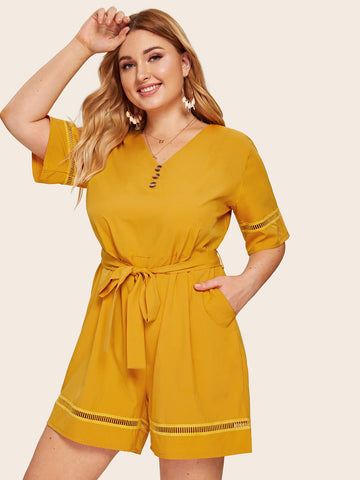 Plus Wide Leg Button Self Tie Romper | Amy's Cart Singapore