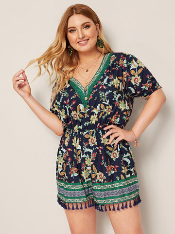 Plus Floral Print Button Front Fringe Hem Romper | Amy's Cart Singapore