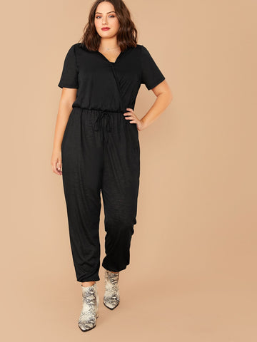 Plus Solid Tie Front Wrap Jumpsuit | Amy's Cart Singapore