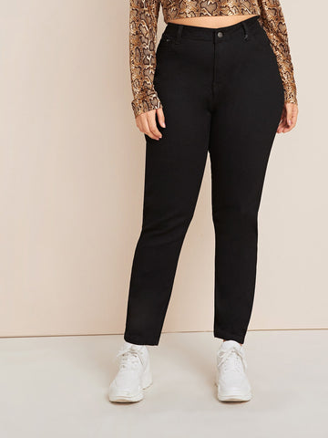 Plus Button Fly Straight Leg Jeans | Amy's Cart Singapore