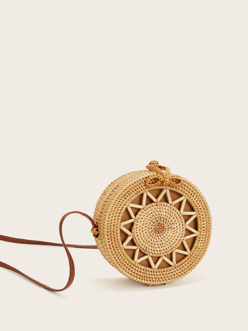 Straw Detail Round Crossbody Bag | Amy's Cart Singapore