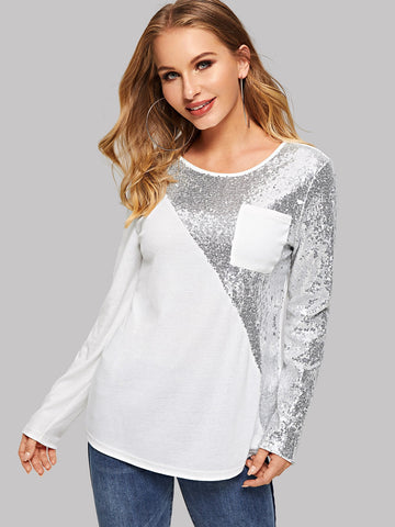 Pocket Patched Sequin Panel Tee | Amy's Cart Singapore