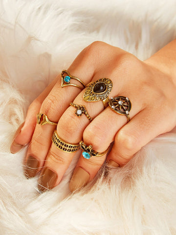 Rhinestone Detail Rings 7pcs | Amy's Cart Singapore