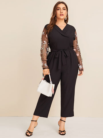 Plus Flower Appliques Mesh Contrast Tie Waist Jumpsuit | Amy's Cart Singapore