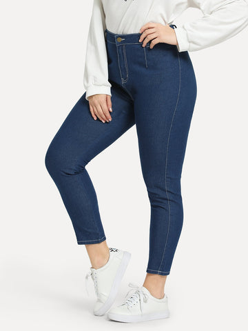 Plus Contrast Stitch Skinny Jeans | Amy's Cart Singapore
