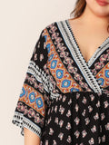 Plus Surplice Neck Tribal Print Peplum Top | Amy's Cart Singapore