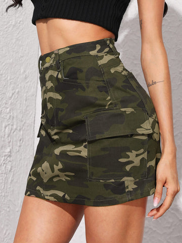 Camo Print Pocket Detail Denim Skirt | Amy's Cart Singapore