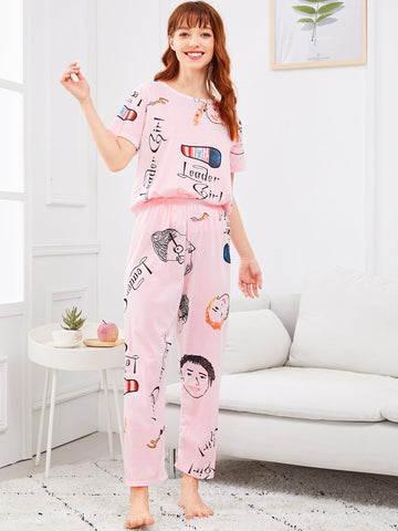 Figure & Letter Print Pajama Set | Amy's Cart Singapore