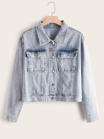 Plus Button Front Pocket Patch Denim Jacket | Amy's Cart Singapore