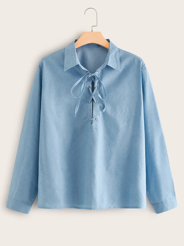 Plus Solid Lace-up Denim Blouse | Amy's Cart Singapore