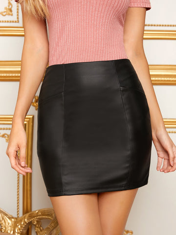 Zipper Back PU Skirt Without Belt | Amy's Cart Singapore