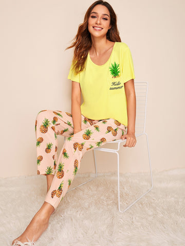 Pineapple & Letter Print Pajama Set | Amy's Cart Singapore