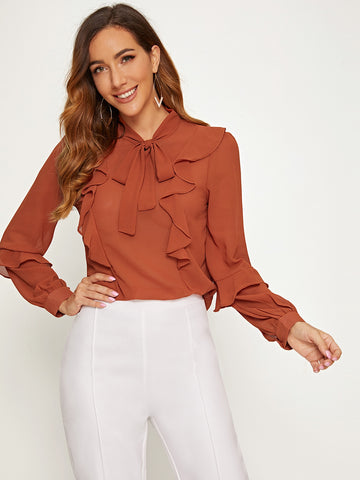Tie Neck Ruffle Trim Top | Amy's Cart Singapore