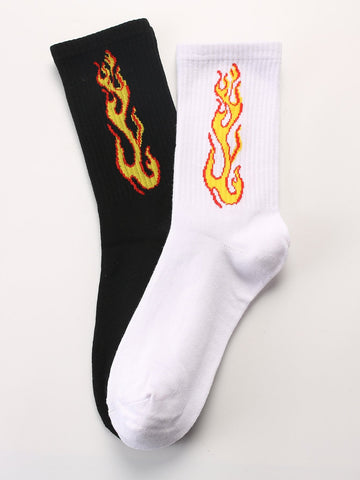 Men Flame Print Socks 2pairs | Amy's Cart Singapore