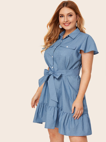 Plus Button Pocket Belted Ruffle Hem Denim Dress | Amy's Cart Singapore