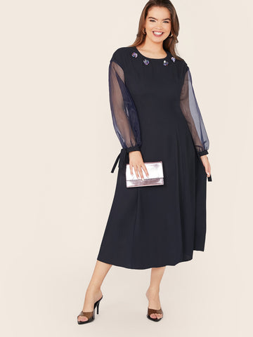 Plus 3D Sequins Detail Knot Mesh Sleeve Flare Dress | Amy's Cart Singapore