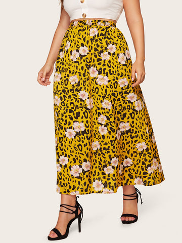 Plus Elastic Waist Floral & Leopard Print Skirt | Amy's Cart Singapore