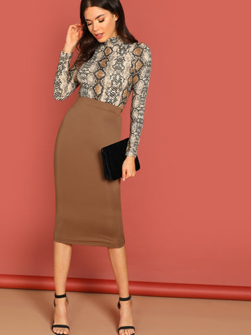 Solid Bodycon Skirt | Amy's Cart Singapore