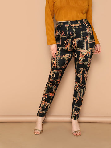 Plus High Waist Scarf Print Pants | Amy's Cart Singapore