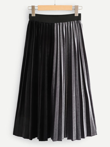 Color Block Pleated Skirt | Amy's Cart Singapore