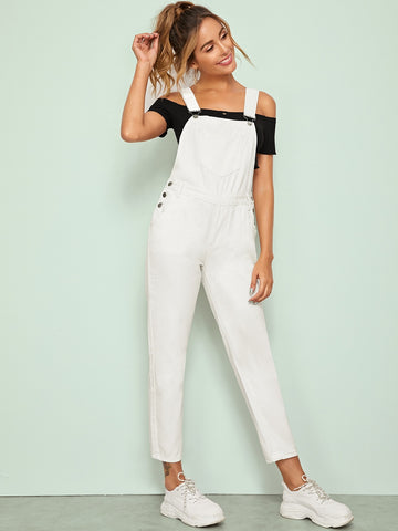 Pocket Front Ankle Denim Overalls | Amy's Cart Singapore
