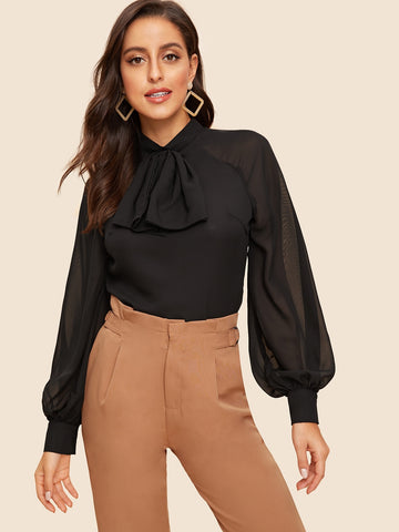 Bow Front Lantern Sleeve Split Back Blouse | Amy's Cart Singapore