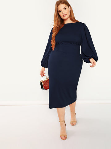 Plus Lantern Sleeve Belted Pencil Dress | Amy's Cart Singapore