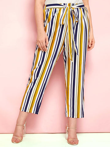 Plus Belted Striped Carrot Pants | Amy's Cart Singapore