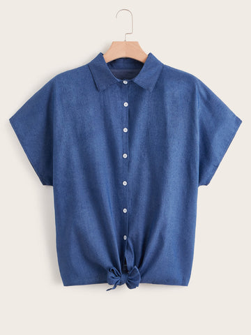 Plus Knot Hem Denim Blouse | Amy's Cart Singapore