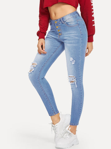 Ripped Faded Wash Button Fly Jeggings | Amy's Cart Singapore