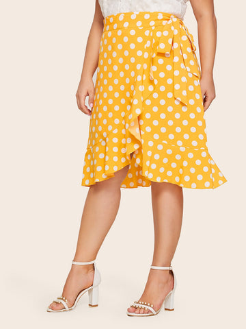 Plus Polka-dot Ruffle Trim Wrap Knotted Skirt | Amy's Cart Singapore