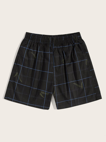 Men Leaf & Plaid Print Bermuda Shorts | Amy's Cart Singapore