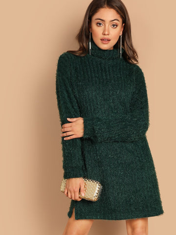 High Neck Split Hem Fuzzy Dress | Amy's Cart Singapore