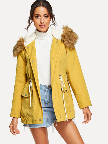 Zip Up Faux Fur Contrast Pocket Hoodie Parka Coat | Amy's Cart Singapore