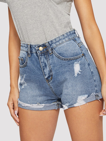 Ripped Cuffed Hem Denim Shorts | Amy's Cart Singapore