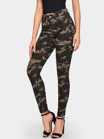 Ripped Camouflage Pattern Jeans | Amy's Cart Singapore