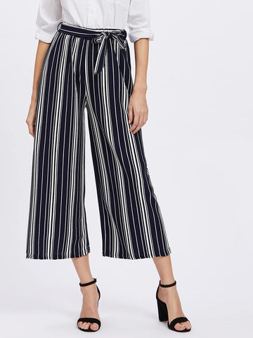 Vertical Striped Self Tie Wide Leg Pants | Amy's Cart Singapore
