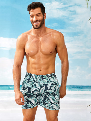 Men Tropical Print Elastic Waist Shorts | Amy's Cart Singapore