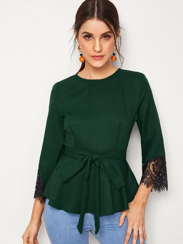 Zipper Back Contrast Lace Cuff Belted Top | Amy's Cart Singapore
