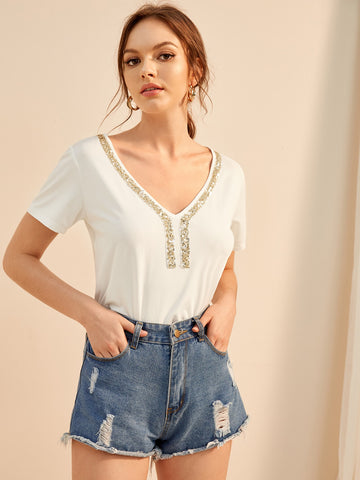 Contrast Sequin V Neck Tee | Amy's Cart Singapore
