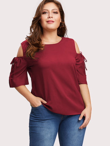 Plus Cold Shoulder Drawstring Sleeve Keyhole Back Top | Amy's Cart Singapore