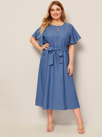 Plus Butterfly Sleeve Button keyhole Belted Denim Dress | Amy's Cart Singapore