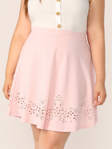Plus Zipper Fly Laser Cut Skirt | Amy's Cart Singapore