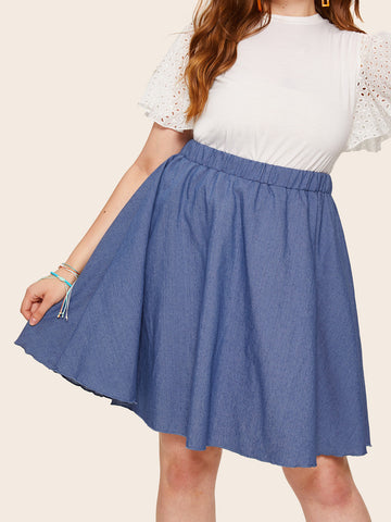 Plus Elastic Waist Denim Skirt | Amy's Cart Singapore