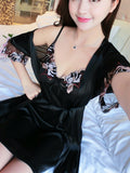 Floral Embroidered Cami Dress With Robe | Amy's Cart Singapore